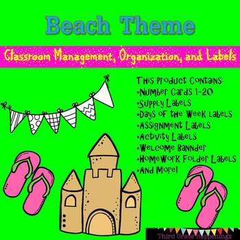 Beach Theme Classroom Labels