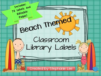 Beach Theme Classroom Library Labels