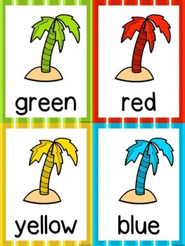 Beach Theme Color Posters & Cards -Palm Trees