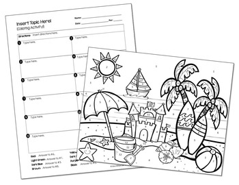 Coloring Activity Template: Beach Theme (Personal Use Only)