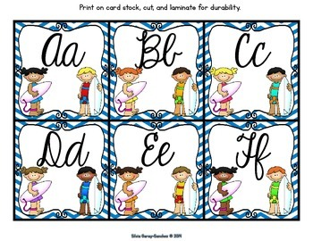 Beach Theme Cursive Alphabet and Word Wall Letter Cards