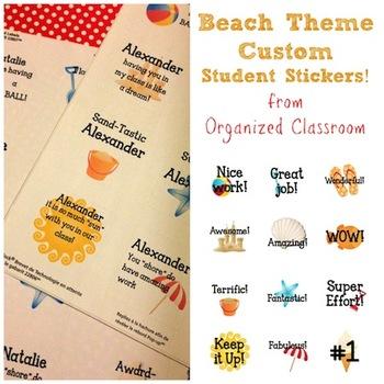 Beach Theme Custom Student Stickers