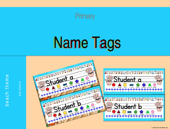 Beach Theme Desk Name Tags (Editable)