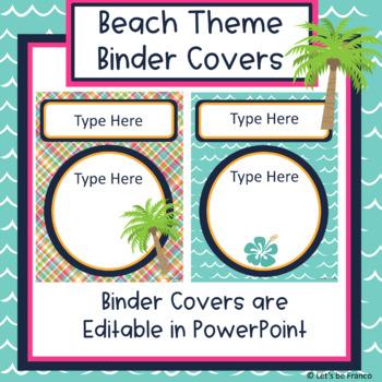 Beach Theme Editable Binder Covers