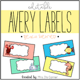 Beach Theme Editable Classroom Labels 2x4 { Avery Label 8163 }