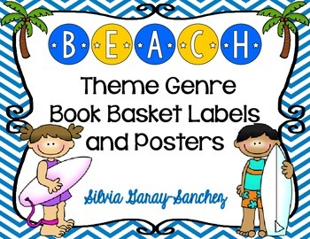 Beach Theme Genre Book Basket Labels and Posters