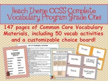 Beach Theme Grade One CCSS Complete Vocabulary Program