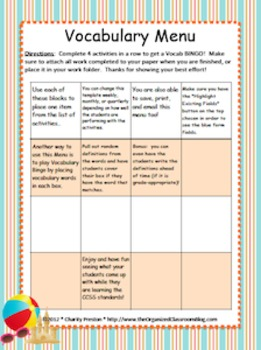 Beach Theme Grade Two CCSS Complete Vocabulary Program