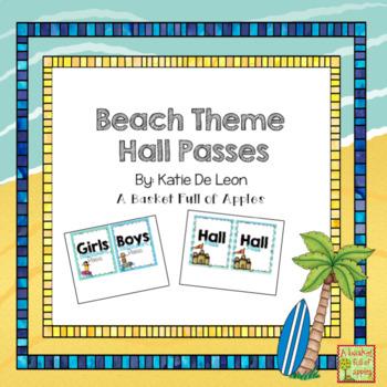 Beach Theme Hall Passes