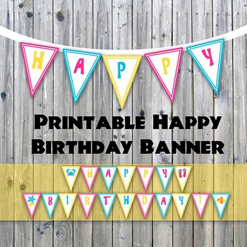 Beach Theme Happy Birthday Printable Banner