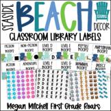 Beach Theme LIBRARY BOOK LABELS Classroom Decor