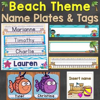 Beach Theme Name Tags Desk Name Plates Editable