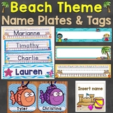 Beach Theme Name Tags Desk Name Plates Editable
