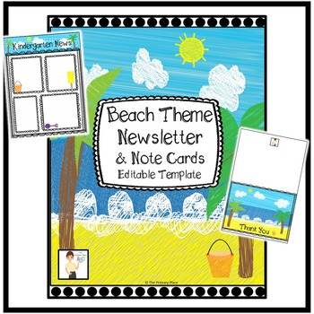 Beach Theme Newsletter and Notecards - Editable Templates