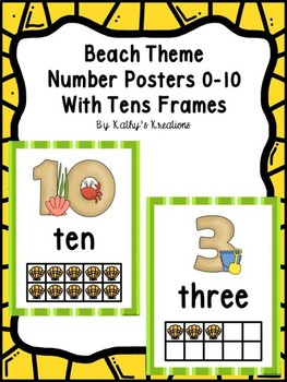 Beach Theme Number Posters 0-10