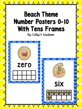 Beach Number Posters 0-10