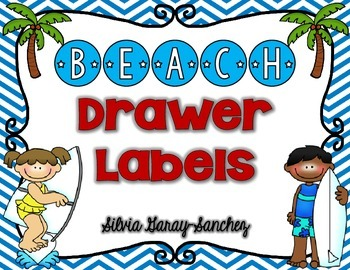 Beach Theme Organizational Drawer Labels