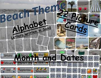 Beach Theme Package Alphabet 22 Beach Pictures Months and Dates for Calendar
