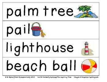 Beach Theme Pocket Chart Word Cards