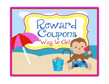 Beach Theme Rewards ~ EDITABLE Blanks! ~ Monkeys ~16 Coupons that cost NO Money!