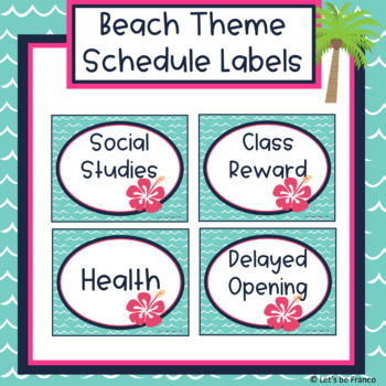 Beach Theme Schedule Labels