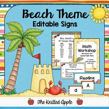 Beach Theme Sign Templates {Editable}