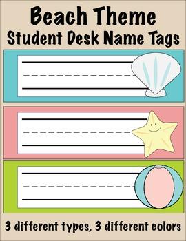Beach Theme Student Desk Name Tags