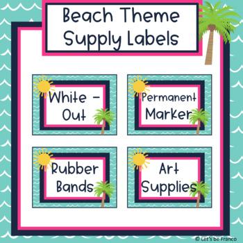 Beach Theme Supply Labels - Editable
