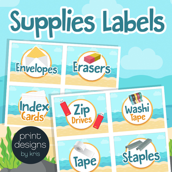 Supply Labels for Drawers, Bins, Baskets & Editable Blank Label in Beach Theme