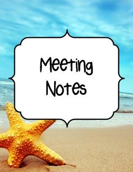 Beach Theme Teacher Binder Dividers and Beginning Year Information Sheets