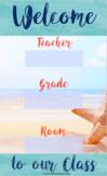 Beach Theme Welcome Chart