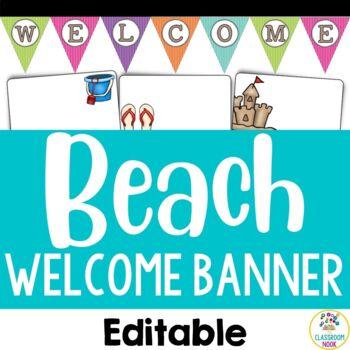 Beach Theme: Welcome Display (Editable)