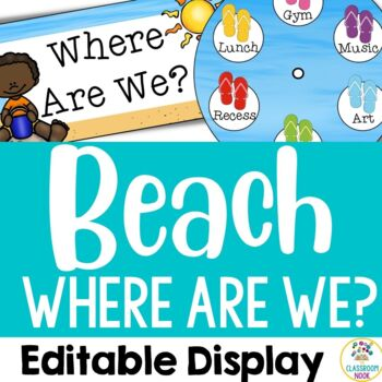 "Beach Theme: ""Where Are We?"" Display (Editable)"