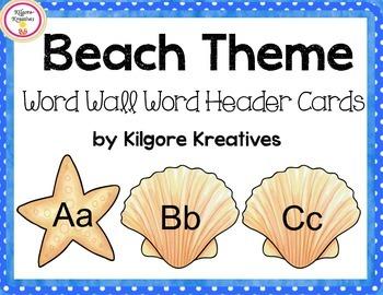 Beach Theme Word Wall Header Cards {Freebie}