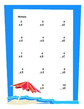 Beach Theme Worksheets Math Review Grades 3-4