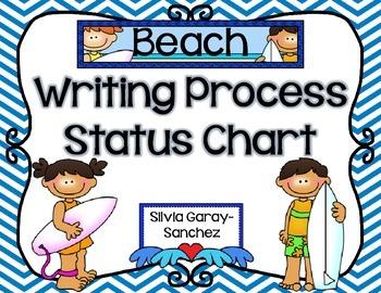 Beach Theme Writing Process Status Chart