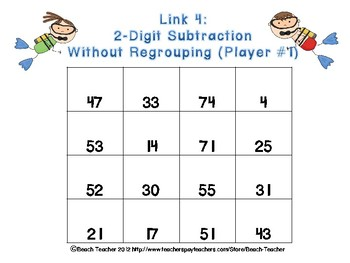 Beach Themed 2-Digit Subtraction Link 4 Game
