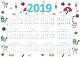 Beach Themed 2019 Classroom Calendar