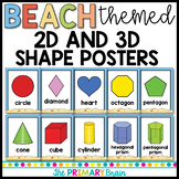 Beach Themed 2d and 3d Shape Posters
