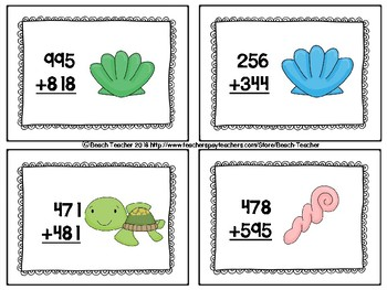 Beach Themed 3-Digit Addition Link 4 Game