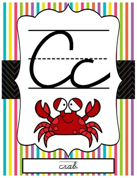 Beach Themed ABC Cursive Posters for Handwriting Reference Class Decor