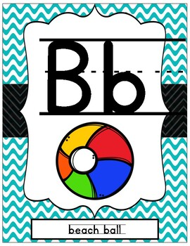 Beach Themed ABC Print Posters for Handwriting Reference Class Decor