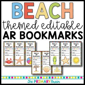 Beach Themed Accelerated Reader EDITABLE Classroom Bookmarks