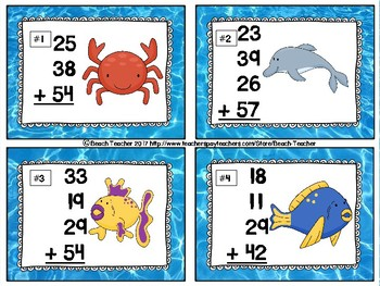 Beach Themed Adding Up to 4 Two-Digit Numbers Link 4 Game