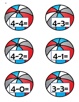 Beach Themed Adding and Subtracting Fluently Within 5 Game