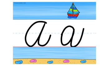 Beach-Themed Alphabet Line Poster in Cursive and Print