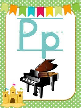 Beach Themed Alphabet Posters with Beginning Sound Pictures