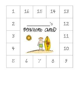Beach Themed Behavior Card