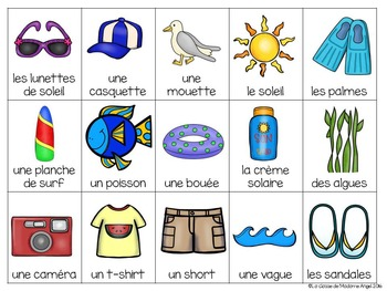 Beach Themed Bingo Game in French