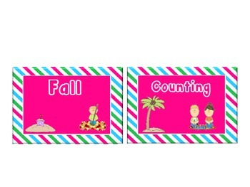 Beach Themed Classroom Library Book Labels with Pink, Blue and Green Stripes.
